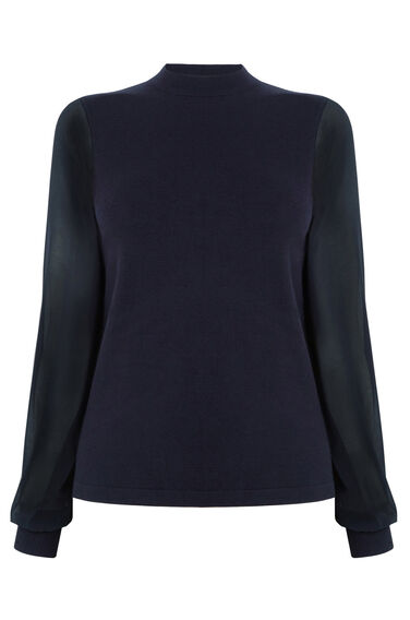 Warehouse, WOVEN SLEEVE CREW JUMPER Navy 0