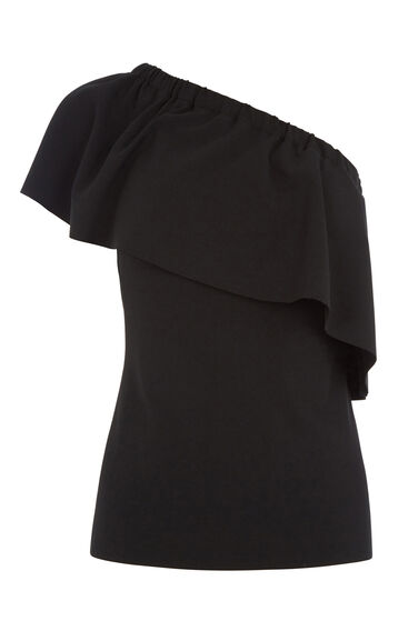 Warehouse, CREPE ONE SHOULDER RUFFLE TOP Black 0