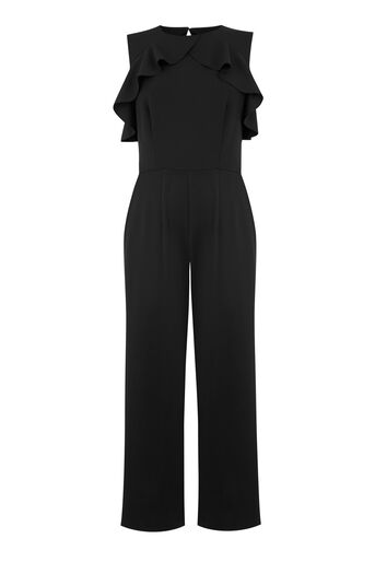 Warehouse, CREPE OPEN BACK FRILL JUMPSUIT Black 0
