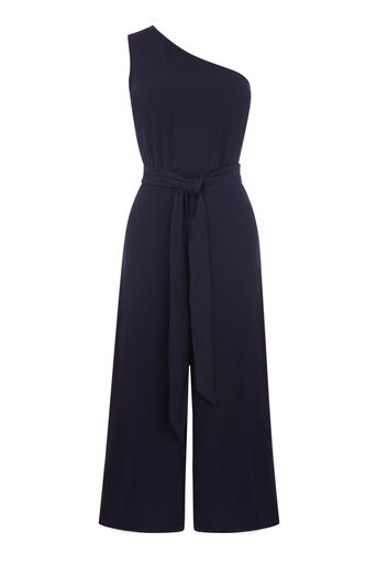Warehouse, ONE SHOULDER JUMPSUIT Navy 0