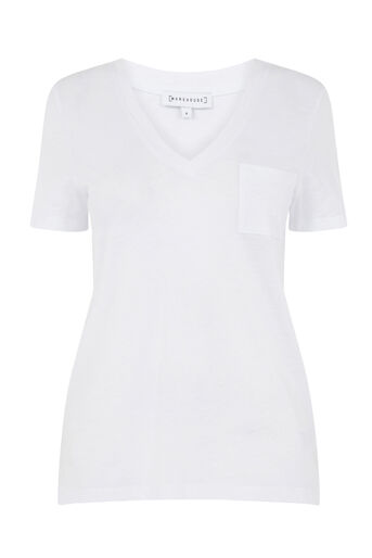 Warehouse, V NECK SLUB TEE White 0