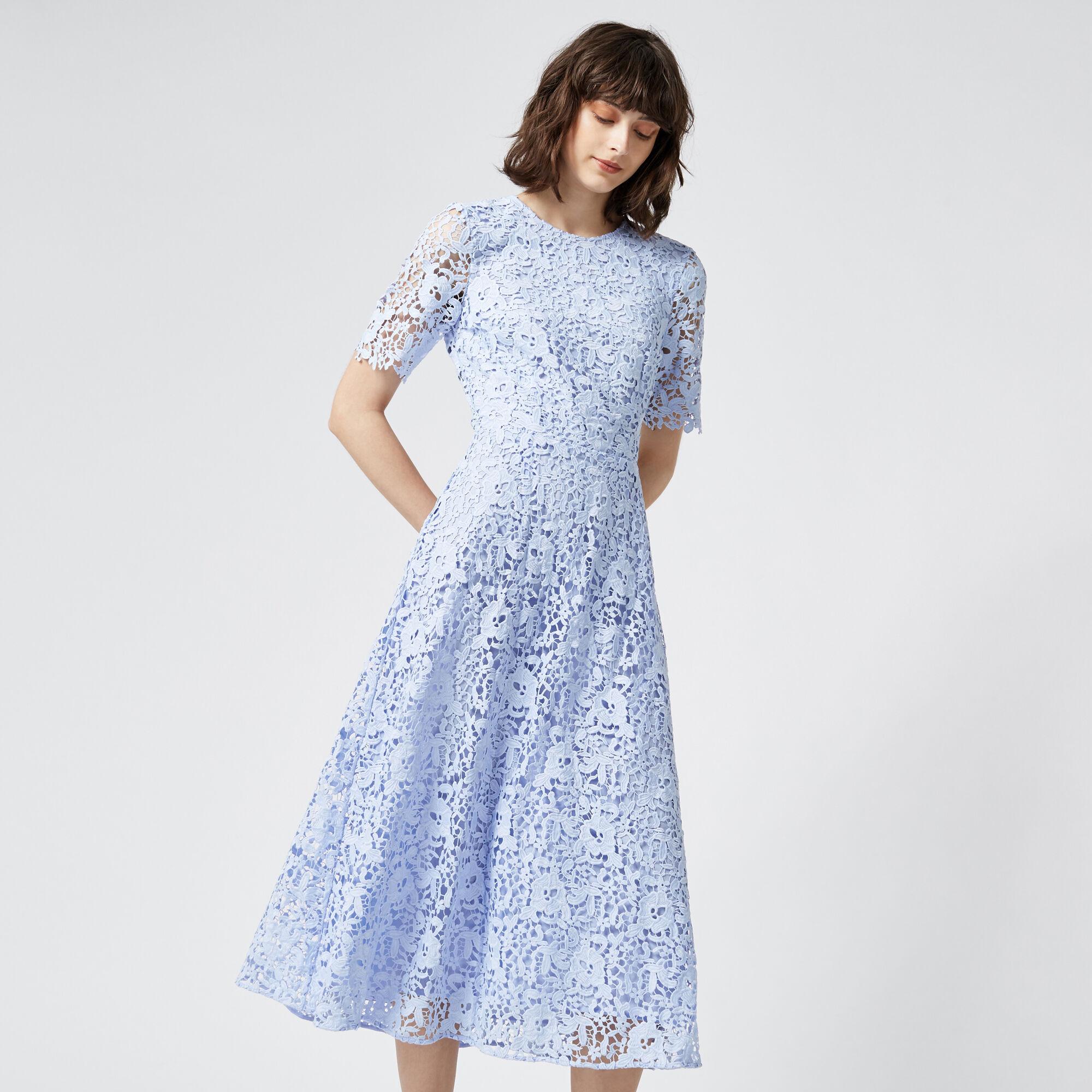 Warehouse, PREMIUM LACE SLEEVE DRESS Light Blue 1