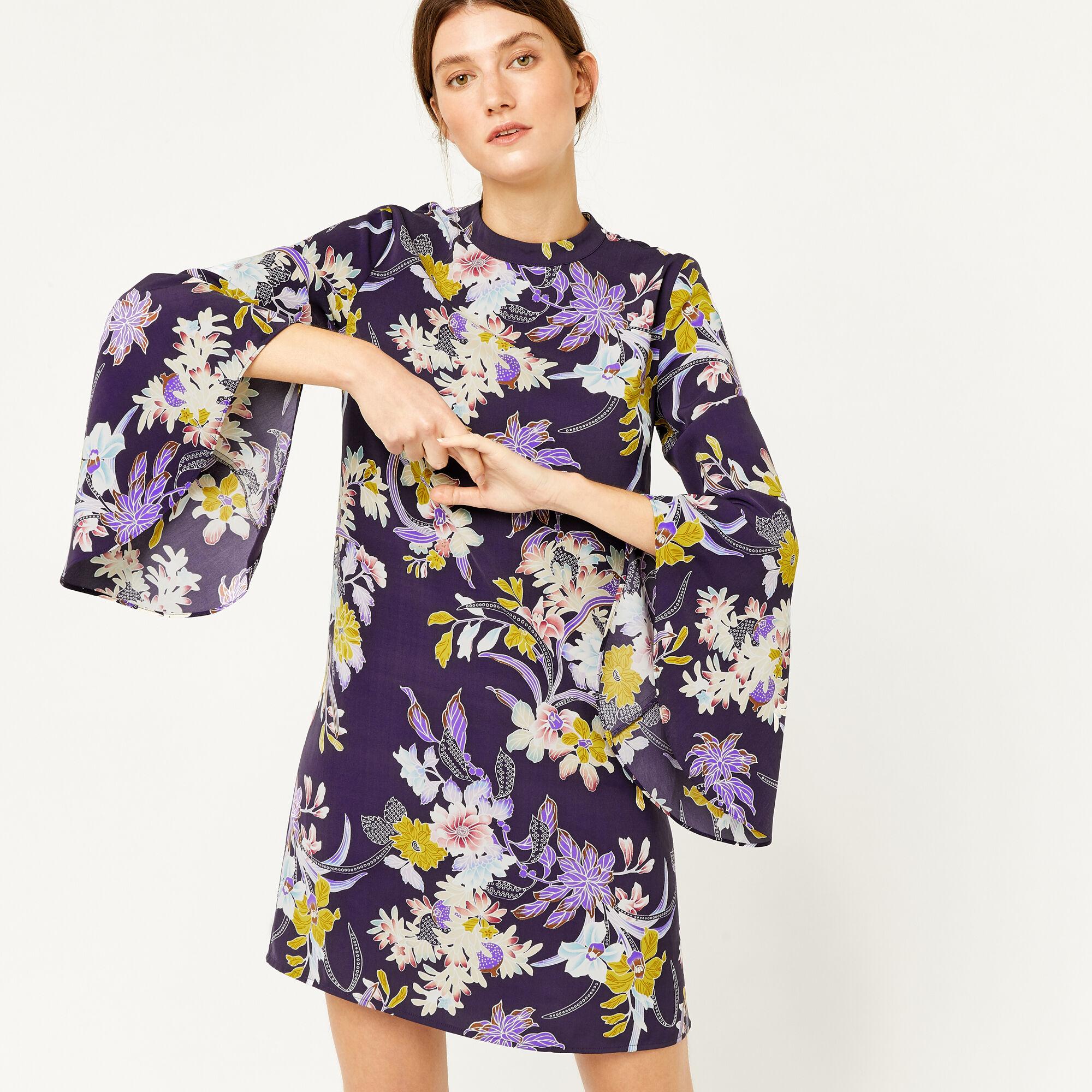 Warehouse, ORCHID FLARED CUFF DRESS Purple Pattern 1