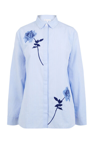 Warehouse, ROSE EMBROIDERED STRIPE SHIRT Light Blue 0