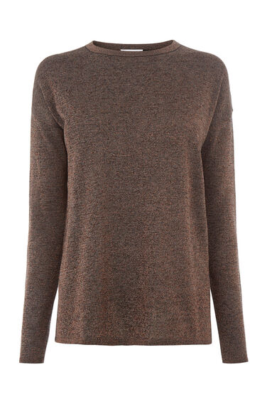 Warehouse, SPARKLE TWIST BACK JUMPER Copper Colour 0