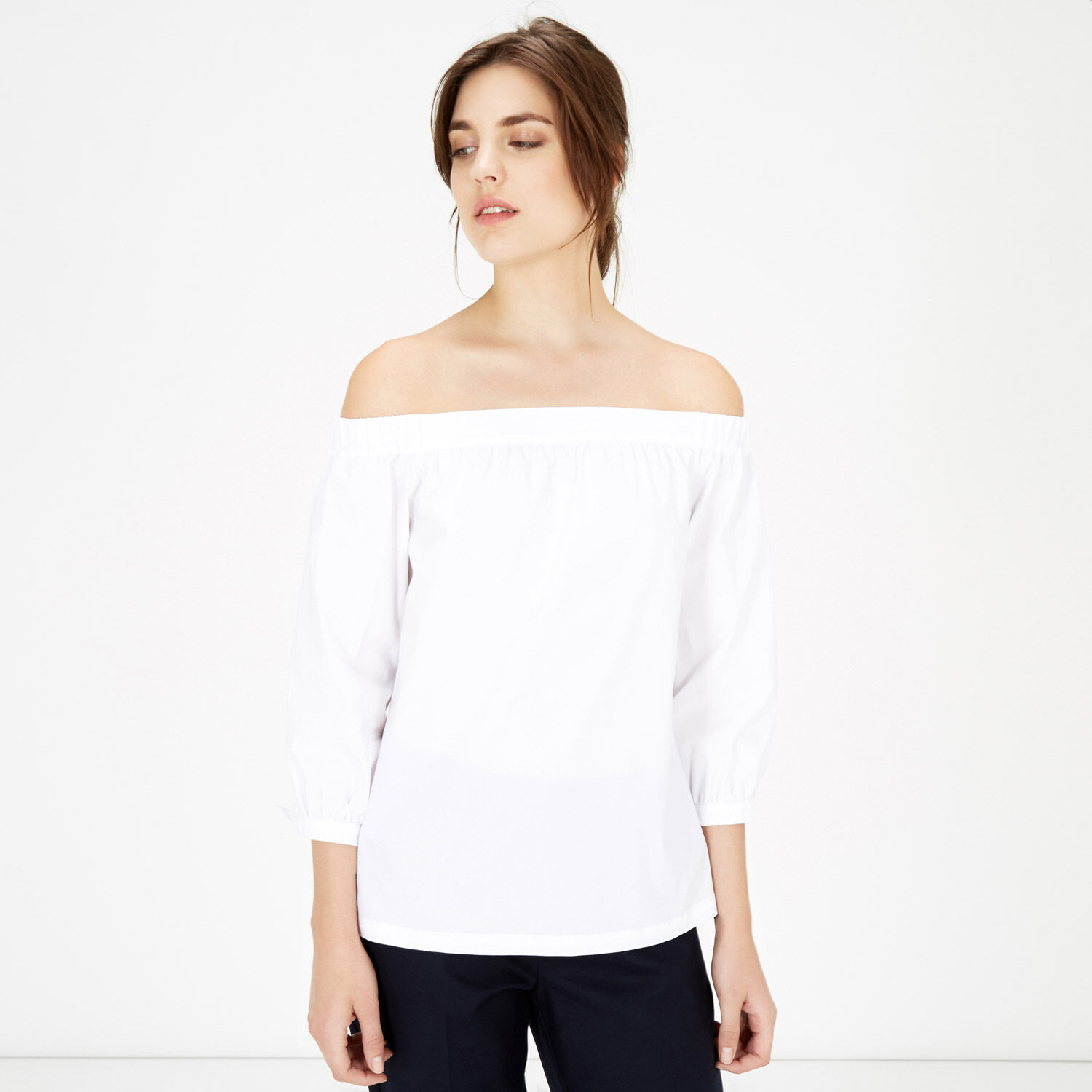Warehouse, Off Shoulder Cotton Top White 1
