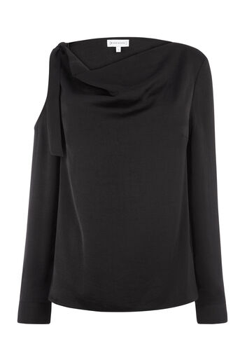 Warehouse, TIE SHOULDER COWL NECK TOP Black 0