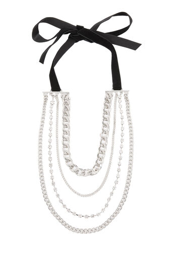 Warehouse, Layered Multi Chain Necklace Silver Colour 0