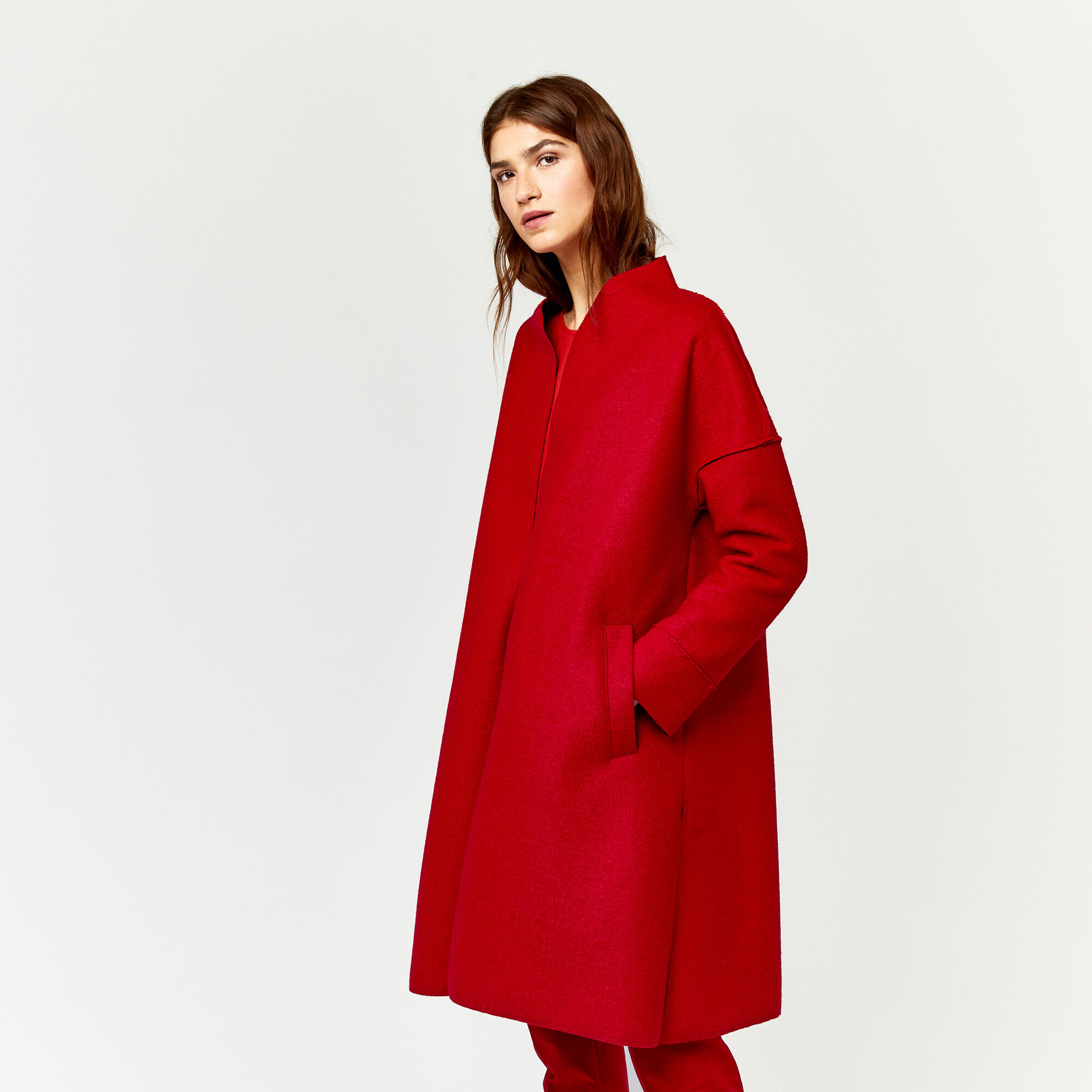 Warehouse, BONDED SWING COAT Bright Red 1