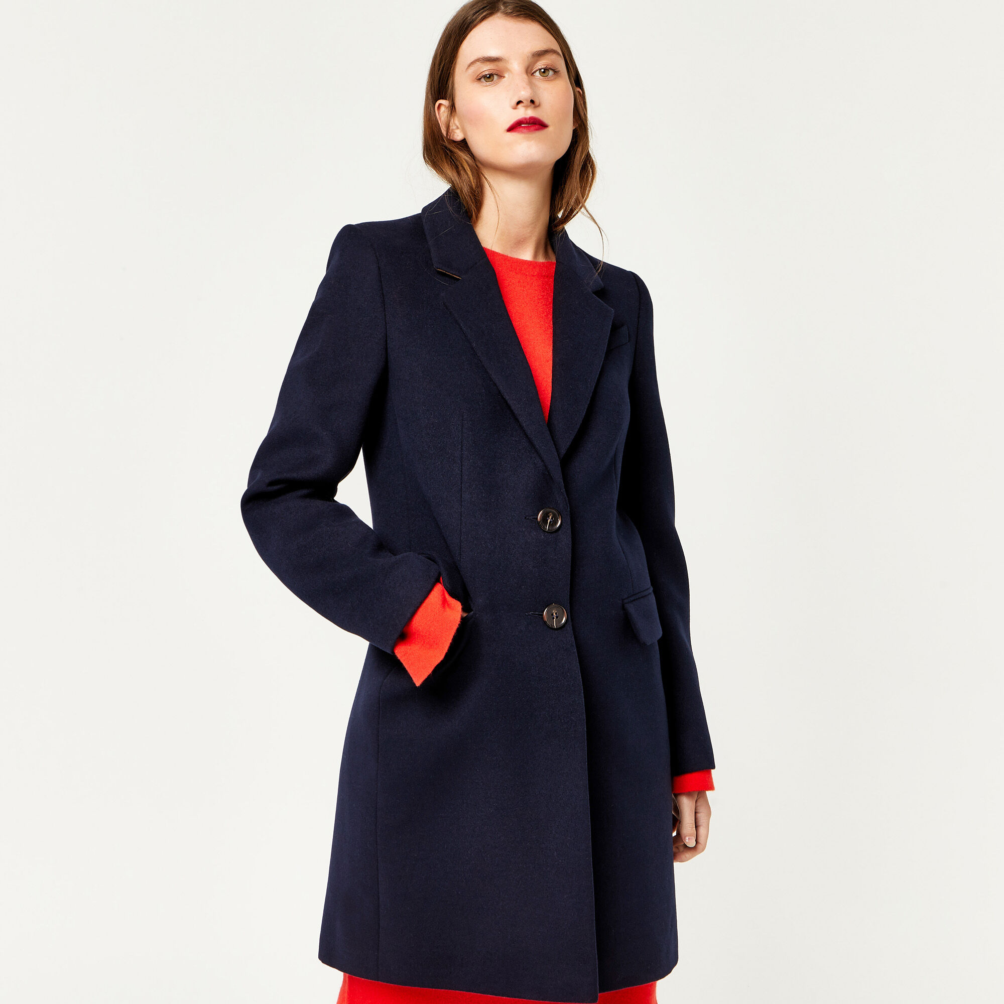 Warehouse, SINGLE BREASTED CROMBIE COAT Navy 1