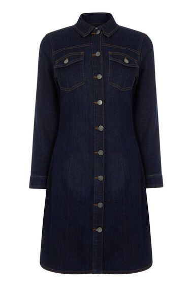 Warehouse, Denim Button Through Dress Indigo Denim 0
