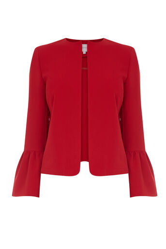 Warehouse, FLUTE SLEEVE JACKET Bright Red 0