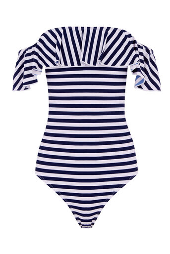 Warehouse, STRIPE BARDOT SWIMSUIT Blue Stripe 0