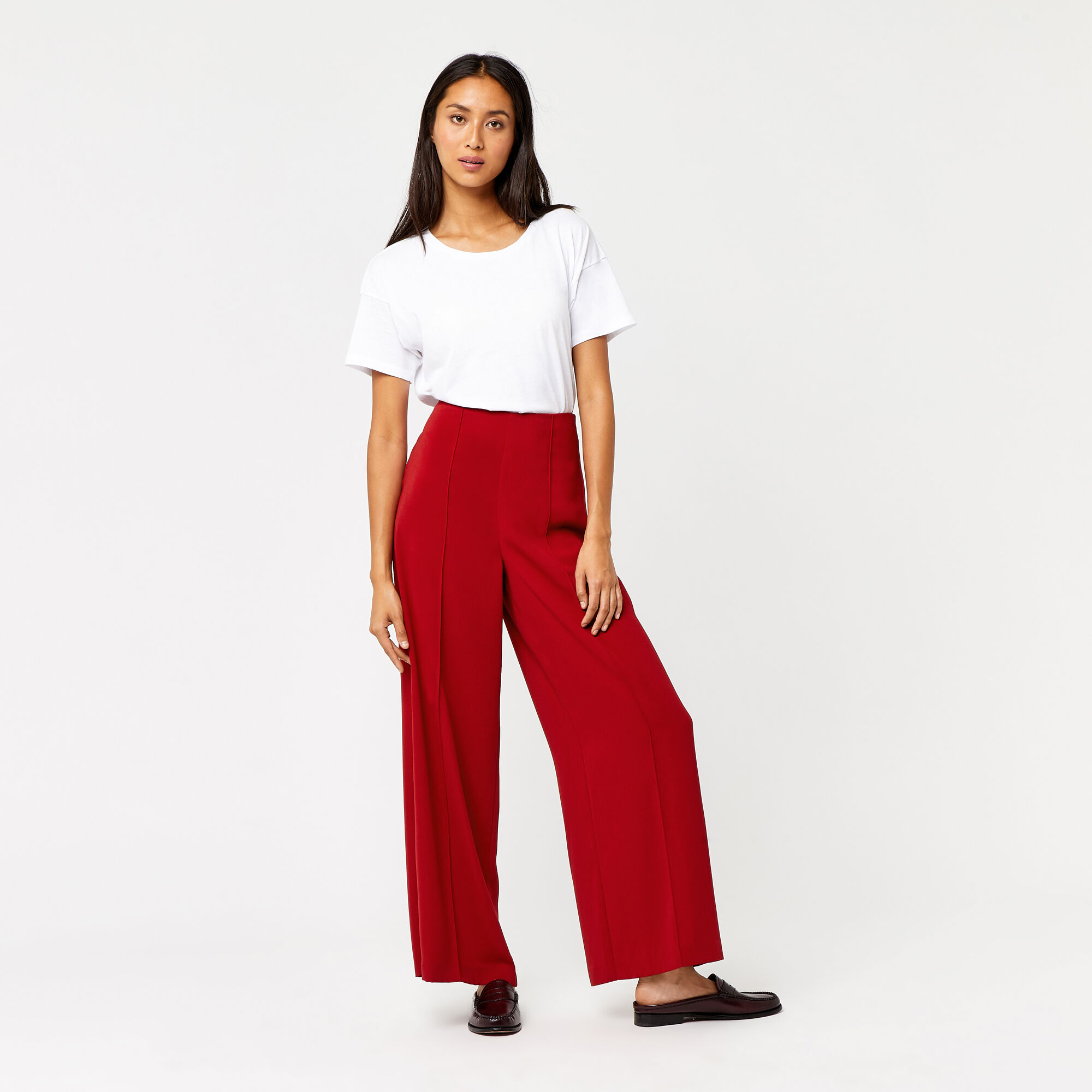 Warehouse, PINTUCK WIDE LEG TROUSER Dark Red 1