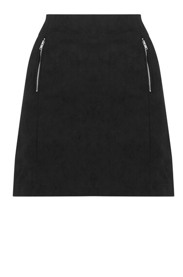 Warehouse, Zip Detail Pelmet Skirt Black 0