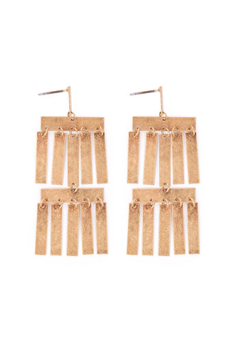 Warehouse, RECTANGLE DROP EARRINGS Gold Colour 0