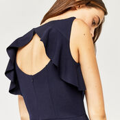 Warehouse, CREPE OPEN BACK FRILL JUMPSUIT Navy 4