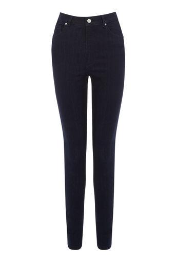 Warehouse, High Waist Skinny Cut Jeans Dark Wash Denim 0