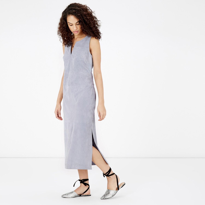 Warehouse, Suede Column Dress Light Blue 1