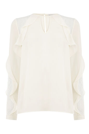 Warehouse, RUFFLE LACE MIX TOP Cream 0