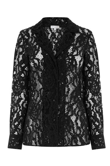 Warehouse, LACE PYJAMA SHIRT Black 0