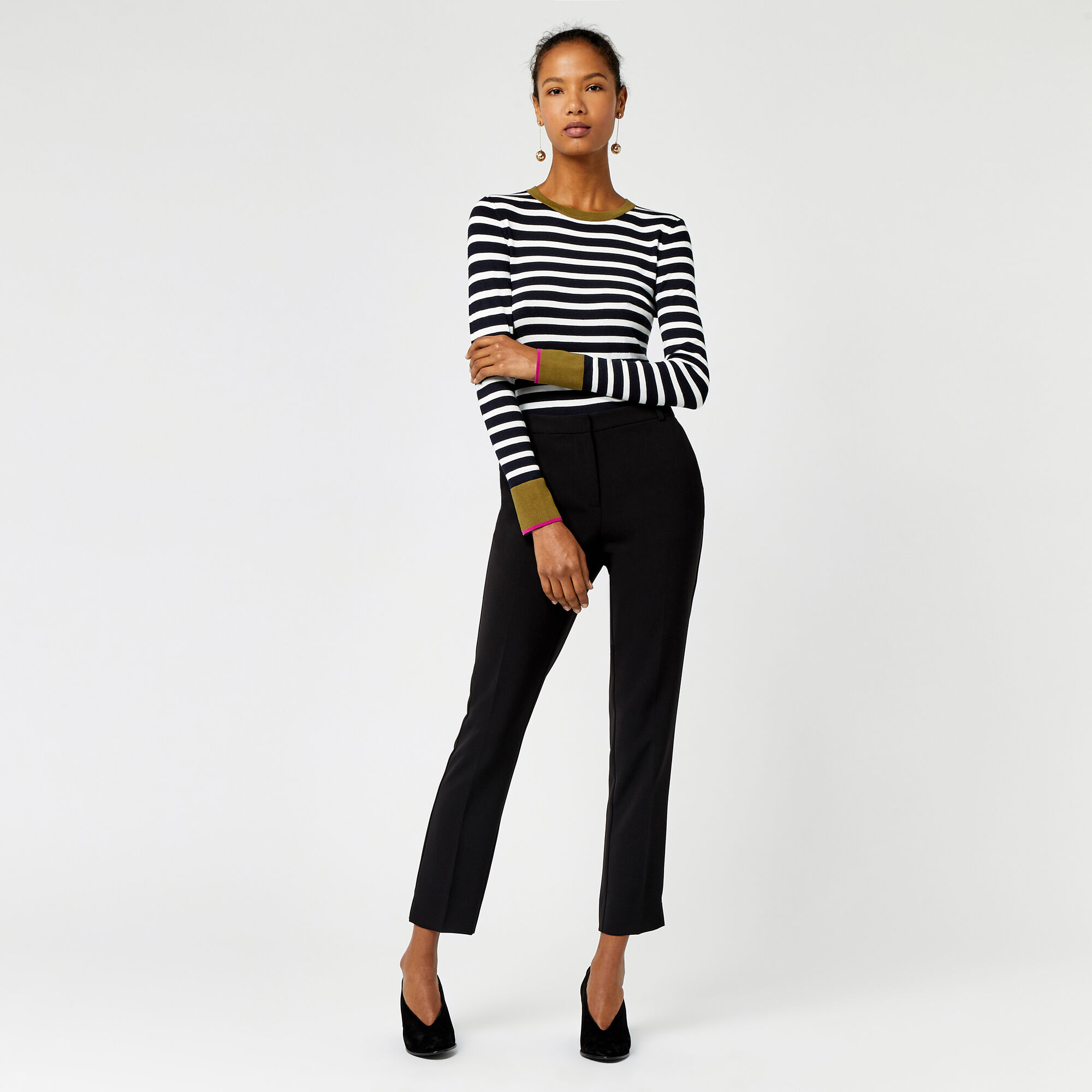 Warehouse, SLIM LEG TROUSER Black 1