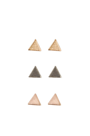Warehouse, TRIANGLE TRIPLE EARRING PACK Multi 0