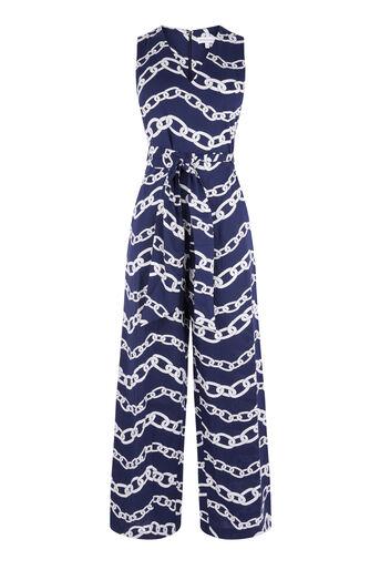 Warehouse, Jumpsuit met kettingprint Blauw patroon 0