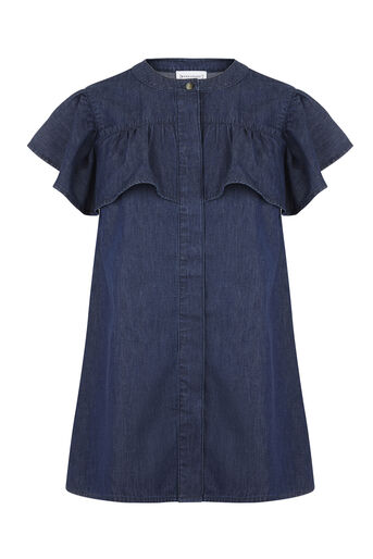 Warehouse, BIB RUFFLE TOP Mid Wash Denim 0