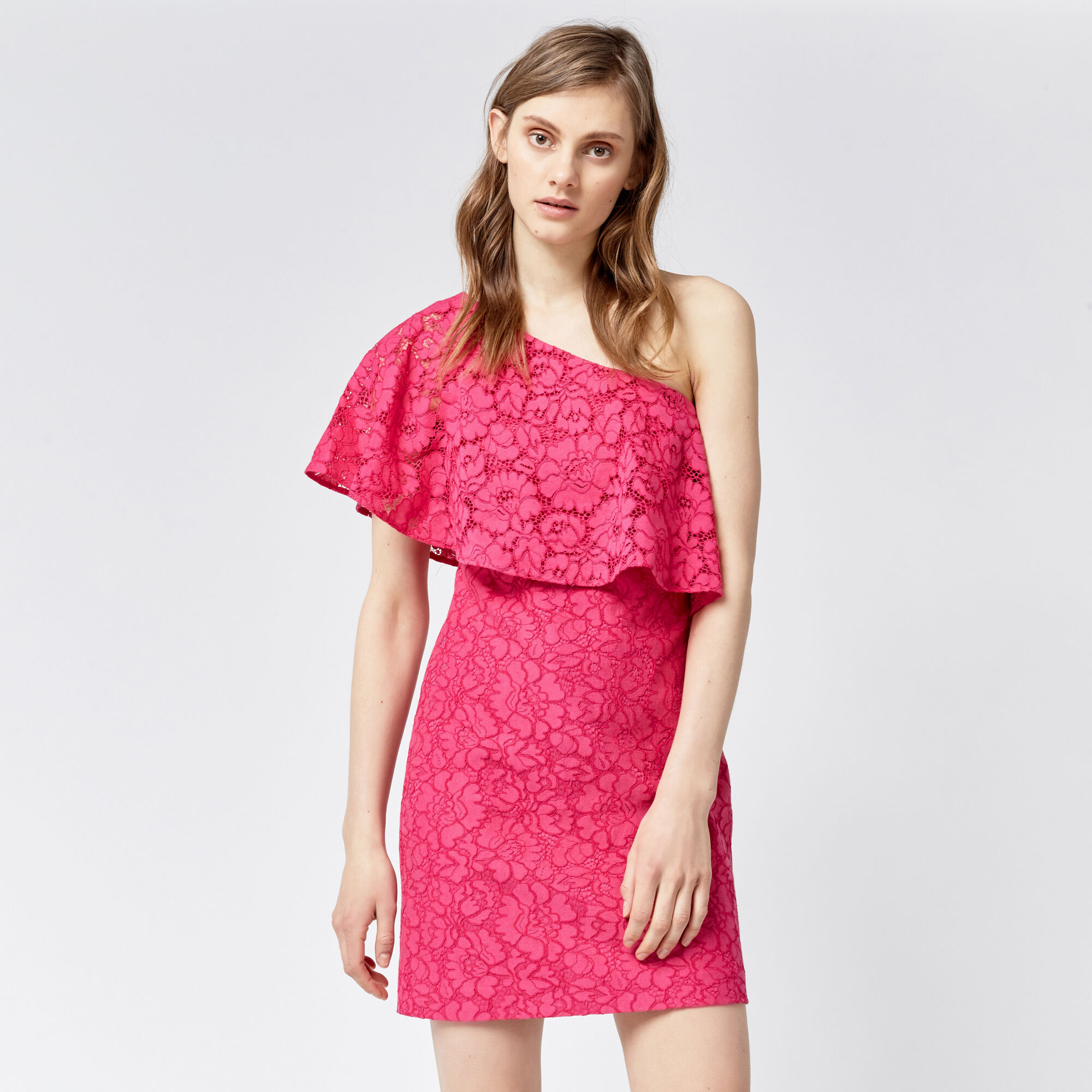 Warehouse, BONDED LACE ONE SHOULDER DRESS Bright Pink 1