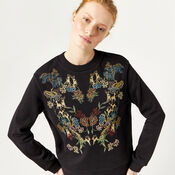 Warehouse, DEER EMBROIDERED SWEAT Black 1
