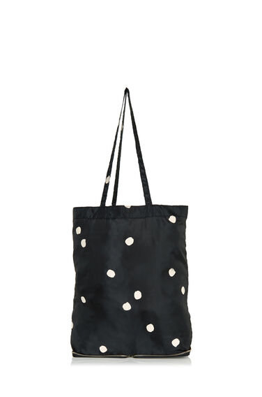 Warehouse, Dotty Zip Around Shopper Bag Black Pattern 0