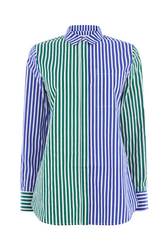 Warehouse, MIXED STRIPE SHIRT Blue Stripe 0