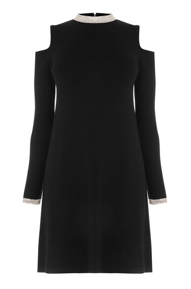 Warehouse, EMBELLISHED NECK DRESS Black 0