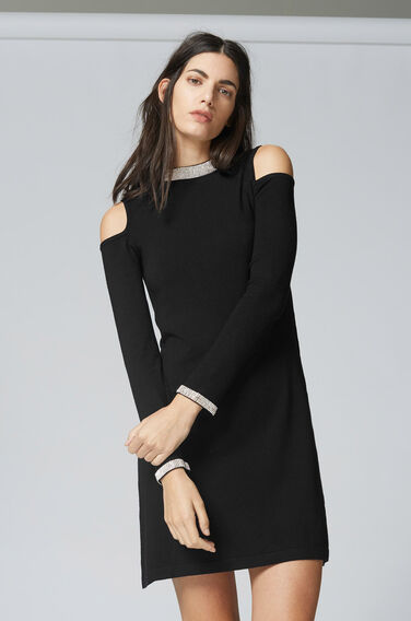 Warehouse, EMBELLISHED NECK DRESS Black 1