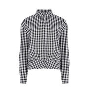 Warehouse, Gingham Blouson Blouse Black Pattern 0