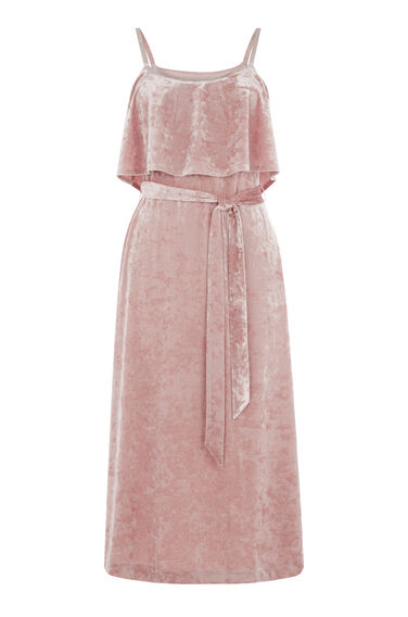 Warehouse, CRUSHED VELVET CAMI DRESS Light Pink 0
