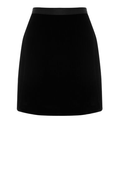 Warehouse, VELVET PELMET SKIRT Black 0
