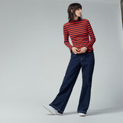Warehouse, STRIPE RIB TOP Red Stripe 2