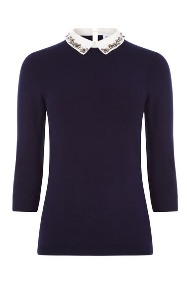 Warehouse, EMBELLISHED COLLAR JUMPER Navy 0