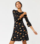 Warehouse, FLORENCE FLUTE SLEEVE DRESS Black Pattern 3