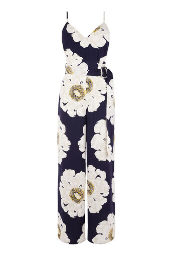 Warehouse, MELODY FLORAL JUMPSUIT Blue Pattern 0