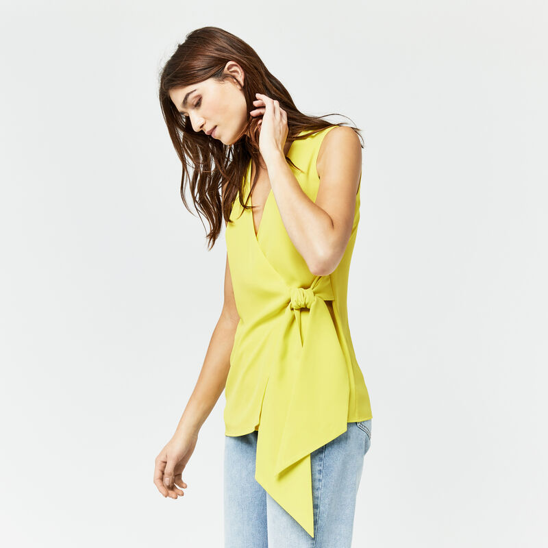 Warehouse, KNOT FRONT TOP Yellow 1