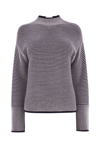 Warehouse, STRIPE OTTOMAN RIB JUMPER Navy 0
