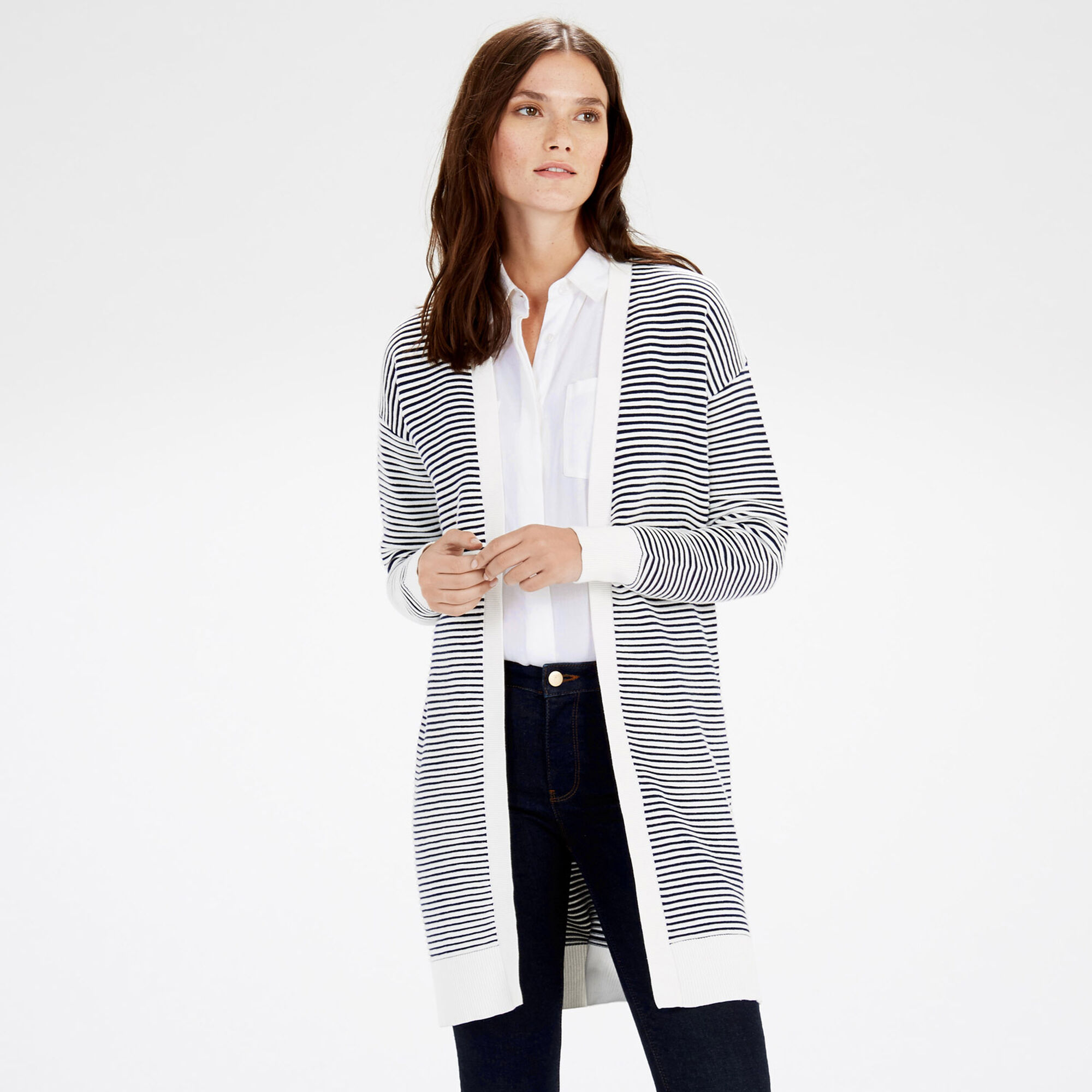 Warehouse, OTTOMAN STRIPE CARDI Black Stripe 1