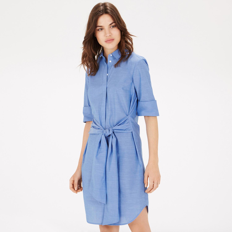 Warehouse, Tie Front Shirt Dress Light Blue 1