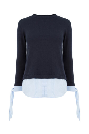 Warehouse, STRIPE BOW CUFF JUMPER Navy 0
