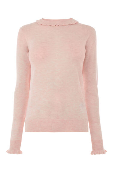 Warehouse, Frill Neck And Cuff Jumper Light Pink 0