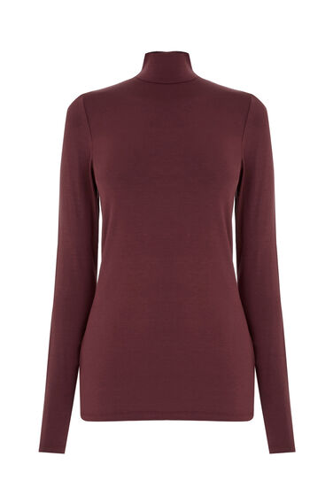 Warehouse, TURTLE NECK TOP Berry 0