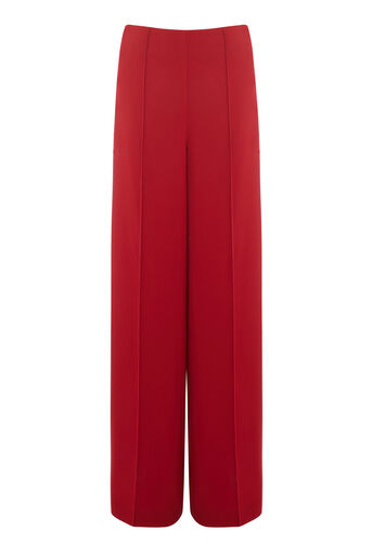 Warehouse, PINTUCK WIDE LEG TROUSER Dark Red 0
